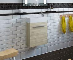 Nash Light Oak 400 Cloakroom Wall Hung Vanity Unit with Sink - SJ-400_LO scene square medium