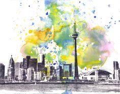 Toronto Cityscape Skyline Landscape Art Print From Original Watercolor Painting 8 x 10 in Art Print
