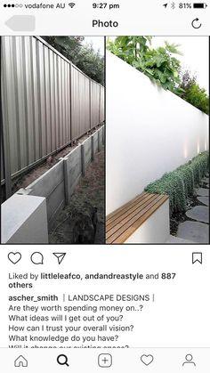 Exterior cement sheeting framed and texture coated Casa Patio, Backyard Patio, Side Yard Landscaping, Side Garden, Garden Bed, Garden Screening, Back Gardens, Outdoor Areas, Outdoor Living