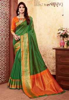 Sarees are unique and stylish with different fabrics and colors. Order this catchy green weaving work designer traditional saree. Art Silk Sarees, Silk Sarees Online, Indian Dresses, Indian Outfits, Pakistani Dresses, Celebrity Gowns, Green Saree, Lehenga Saree, Latest Sarees