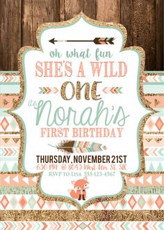 Tribal Wild One Party Invite Birthday  Baby's first birthday by CassiaLeighDesigns