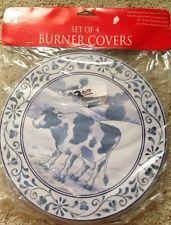4 Vintage Cobalt Blue Cow Round Stove Electric Range Cook Top Burner Covers Burner Covers, Cobalt Blue, Stove, Cow, Decorative Plates, Electric, Range, Ebay, Vintage