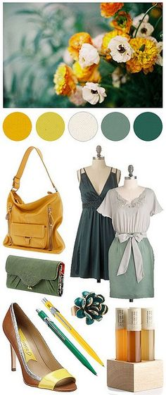 greens and yellows. love this pallette!