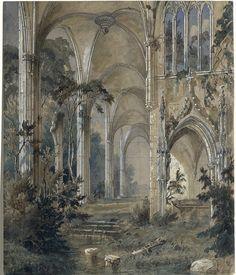 Carl Blechen, Iglesia gótica en ruinas, 1829-1831 ©Museum Kunstpalast de Düsseldorf Fantasy Castle, Fantasy Art, Carl Blechen, Google Art Project, Historical Art, Gravure, Art Plastique, Aesthetic Art, Art Google