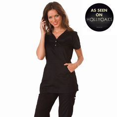 """Longer top from Koi in Black, 26"""" length (size S) 55% cotton/45% polyester soft twill top, Two functioning snap buttons and deep pockets XS-3X, £27.50  #dental #uniforms #nurse #female #scrubs #tunics #top #healthcare #koi #Justine #happythreads"""