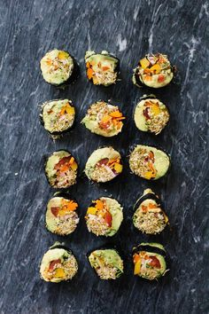 Veggie Sushi Rolls -- grain-free, all vegan Veggie Sushi Rolls, Sushi Roll Recipes, Vegan Sushi, Nori Sushi, Healthy Sushi, Sushi Food, Healthy Lunches, Healthy Food, Vegan Recipes