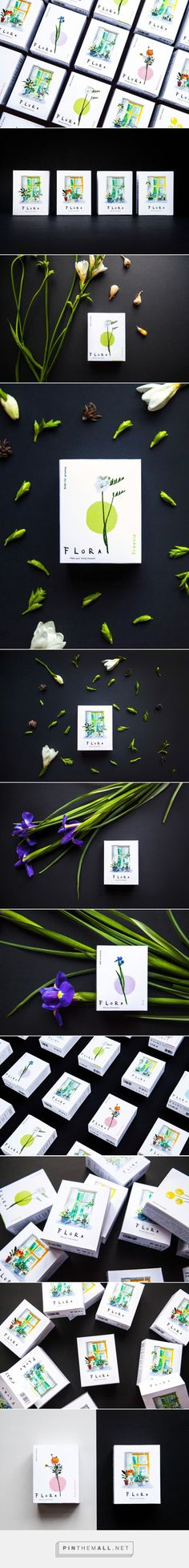 Flora packaging (concept) / Flora is a brand producing flower bulbs for indoor germination. It is represented by four plant species: Freesia, Ranunculus, Iris, Crospedia /  by LOCO Studio