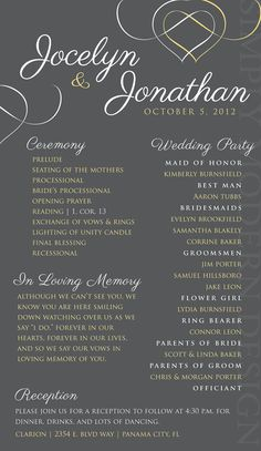 maybe not so modernish...but the color scheme! :) ceremony program, PRINTABLE