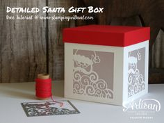 Stampin' Up! Detailed Santa thinlits gift box | Valerie Moody
