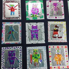 "18 Likes, 1 Comments - DSESArt- Miss McFee (@mcfeesartstudio) on Instagram: ""Fourth grade shape foil robots with patterned borders turned out so cool!"""