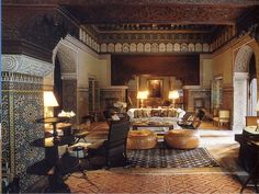 Room Interior Wall Patterned Moroccan Islamic Interiors Design Image