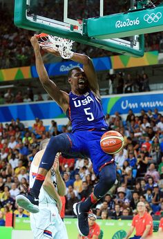 Kevin Durant of the USA dunks the ball during the Men's Gold medal game between…