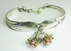 Silver Spoon Bracelet, Inheritance 1941, Earthtone Flowers, Green Crystals, Pearls, Silverware Jewelry via Etsy