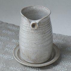 Handmade Pottery Bath Set of 2 - White - Soap Dish - Toothbrush Holder