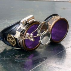 A pair of truly awesome welding goggles with purple lenses!  http://steampunkclothingace.com/steampunk-welding-goggles/  #steampunk #goggles #cosplay