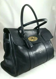 e0840437c01b Mulberry Heritage Bayswater Black Natural Grain Leather Hand Bag Auth $1800