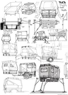 How many people have piles of idea sketches like these cricket trailer ones? Know I do ...