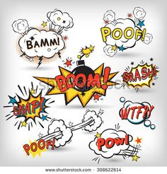 Comic speech bubbles in pop art style with bomb cartoon explosion splach powl snap boom poof text set  illustration