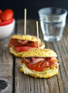 Cauliflower Bagel BLTs--could use the bagels for other sandwiches One cauliflower bagel BLT yields 190 calories, 14 grams of fat, 5 grams of carbs and 12 grams of protein
