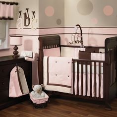 brown, pink and polka dot nursery