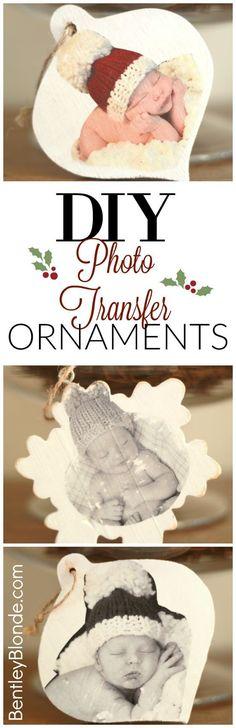 DIY Photo Transfer to Wood Christmas Ornaments.