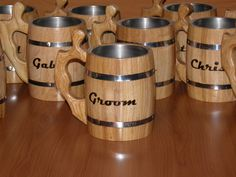 8 Wooden personalized Beer mugs, 0,8 l (27oz) , natural wood, stainless steel inside,groomsmen gift by UkrainianSouvenir on Etsy https://www.etsy.com/listing/121047444/8-wooden-personalized-beer-mugs-08-l