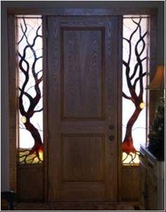 """Trees"",  Stained glass sidelight windows by Eleanor Brownridge, glass artist at TurtleCreek Art Glass."