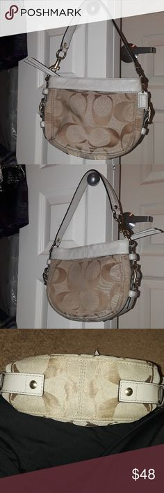 "EUC Small light beige monogrammed Coach purse In excellent used condition.  I barely used rhe purse. There is some dirt and water staining, but the purse is light and dark beige colored, so it blends in with the purse. You can purchase a professional cleaning product and try to clean off the dirt, etc. I already tried cleaning the fabric a bit. It's best the owner decides how best to clean it. No rips, odors, or major signs of wear. 4"" length 5"" width. Strap:  3"" length. Coach Bags Shoulder…"