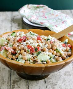 Greek Salad With Chick Peas... brilliant twist!