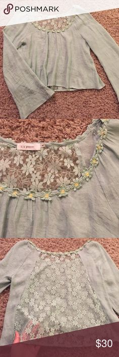Long Sleeve Crop Top Blouse Gorgeous whimsical crop top with long bell shape sleeves, flower neck line, and sheer lace back. Very gently used, excellent condition ❣️ Blu Pepper Tops Crop Tops