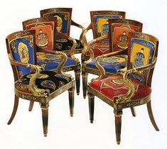 ❤ - Italian Neoclassical Brass-mounted Mahogany and Parcel-Gilt Seat Furniture, First Quarter 19th Century, upholstered in Gianni Versace designed cotton velvet 'Chinese Gardener' and 'Chinese Flora' pattern