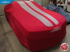 Coverking Red Sating Stretch Car Cover with Gray Racing Stripes for your Chevy Camaro 5.