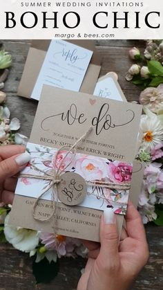 wedding invitations Boho weddng invitation with flowers and eco paper Summer Wedding Invitations, Handmade Wedding Invitations, Rustic Invitations, Wedding Stationery, Inexpensive Wedding Invitations, Watercolor Wedding Invitations, Wedding Invitation Wording, Original Wedding Invitations, Wedding Invitation Packages