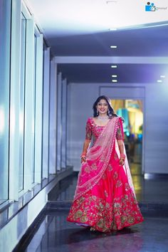 Nov 2019 - A bride needs to look her best at both the events because she is the one who is being observed by everyone during these events. While wearing traditional an. Half Saree Lehenga, Lehenga Saree Design, Lehnga Dress, Saree Blouse, Pink Bridal Lehenga, Designer Bridal Lehenga, Indian Bridal Lehenga, Indian Wedding Gowns, Indian Gowns Dresses