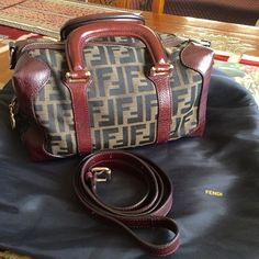 "Original FENDI bag With cross shoulder strap, lightly used. Great condition. 11"" W x 6"" T x 6"" square on the side. FENDI Bags"