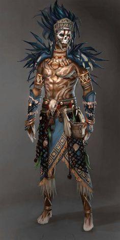 Character design and concept development - Guild Wars Voodoo Male YeeWu Fantasy Character Design, Character Concept, Character Inspiration, Character Art, Dnd Characters, Fantasy Characters, Dark Fantasy, Fantasy Art, Tribal Warrior