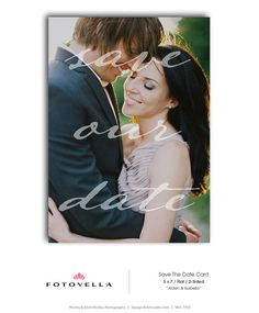 Save The Date Template  Wedding Announcement by FOTOVELLA Save The Date Templates, Wedding Templates, Postcard Layout, Photo Layouts, Wedding Announcements, Save The Date Cards, Professional Photographer, Photo Cards, Dating