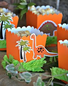 Cute Dinosaur Birthday Party Snack Boxes