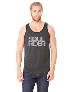 The beauty of the ride, wind rushing through your hair, the peace and solice of the trail, the Soul Ride.  Our men's tanks are made of 50% polyester, 25% combed ringspun cotton and 25% rayon jersey giving them a comfortable, soft, worn-in feel.  S~M~L~XL~2XL   available in Char-Black
