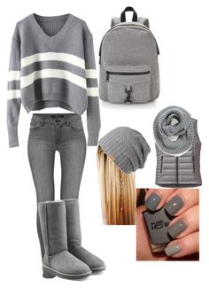 """50 shades of grey"" by theresa918 ❤ liked on Polyvore featuring J Brand, UGG Australia, Barts, Patagonia, Element, Rebecca Minkoff, women's clothing, women, female and woman"