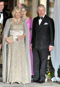 Camilla, Duchess of Cornwall, and Prince Charles, Prince of Wales pose for a photo during a private reception at the Albritton's residence on 18.03.2015 in Washington, DC.