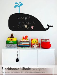 Blackboard Whale - Wall Sticker | Vinylize Wall Deco