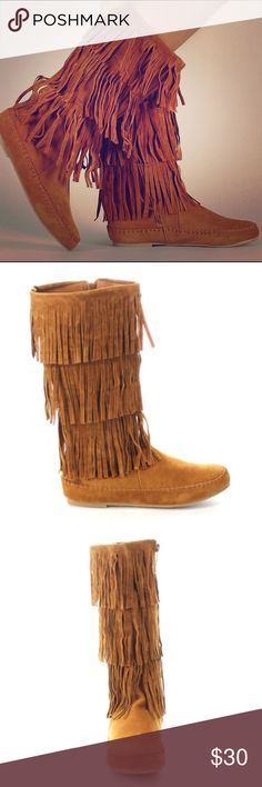 """Bamboo Chestnut Friends Fringe Boots Bamboo Friends Chestnut Boho Fringe Moccasin under the knee boots. Great shape! Have been worn a few times. Three rows of fringe. Short fur lined interior. Side zippers. Rubber soles. 12"""" tall. Bamboo Shoes Moccasins"""