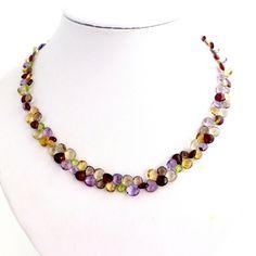 Necklace-Multi-Faceted Gemstone Necklace Peridot, Amethyst, Gemstone Necklace, Beaded Necklace, Autumn Leaf Color, Smokey Quartz, Gemstones, Etsy, Silver