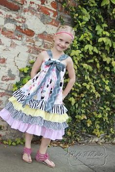New pdf sewing pattern from Create Kids Couture! Keeley's Ruffled Bow dress is perfect for your girly girl. Layers and layers of ruffles, a lovely center bow, and a great twirl factor! Little Girl Outfits, Cute Little Girls, Kids Outfits, Baby Girls, Sewing Patterns For Kids, Clothing Patterns, Sewing Ideas, Pdf Patterns, Kids Clothing