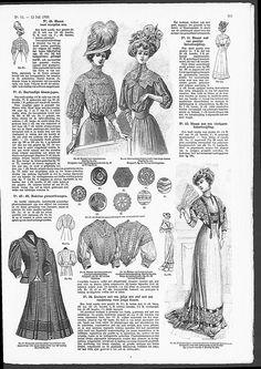 Buttons, some with Art Nouveau influences.   (visit site for bigger picture)  Gracieuse. Geïllustreerde Aglaja, 1908, aflevering 14, pagina 215