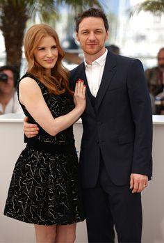 "Jessica Chastain and James McAvoy attend ""The Disappearance of Eleanor Rigby"" photocall at the 67th Annual Cannes Film Festival"