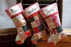Personalised Patchwork Christmas Stockings via Emily Carlill