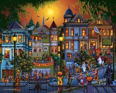 Trick or Treat is a 100 piece jigsaw puzzle by Dowdle Folk Art featuring a street full of happy trick or treaters going door to door on Halloween. Halloween Night, Holidays Halloween, Spooky Halloween, Vintage Halloween, Happy Halloween, Halloween Decorations, Victorian Halloween, Halloween Halloween, Halloween Prints