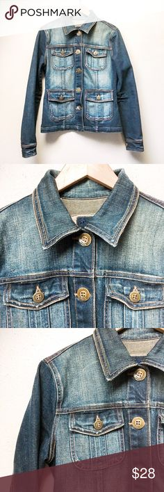 Dark Wash Denim Jacket Jean jackets are perfectly on trend, and no wardrobe is complete without one! This jacket features four front pockets for a unique look. In excellent pre-loved condition.  ✅Offers On Items Over $10 ✅Bundle & Save Trades Off-Posh Modeling  Shop with ease; I'm a Suggested User. Nori Jackets & Coats Jean Jackets